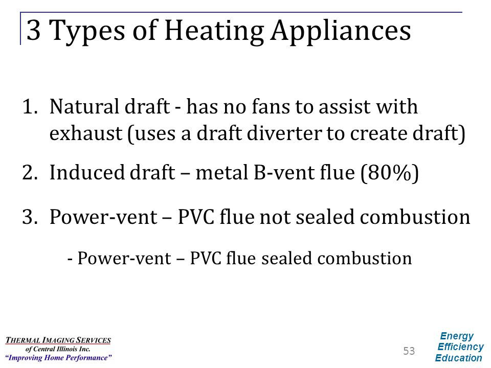 Energy Efficiency Education 3 Types of Heating Appliances 1.Natural draft - has no fans to assist with exhaust (uses a draft diverter to create draft)