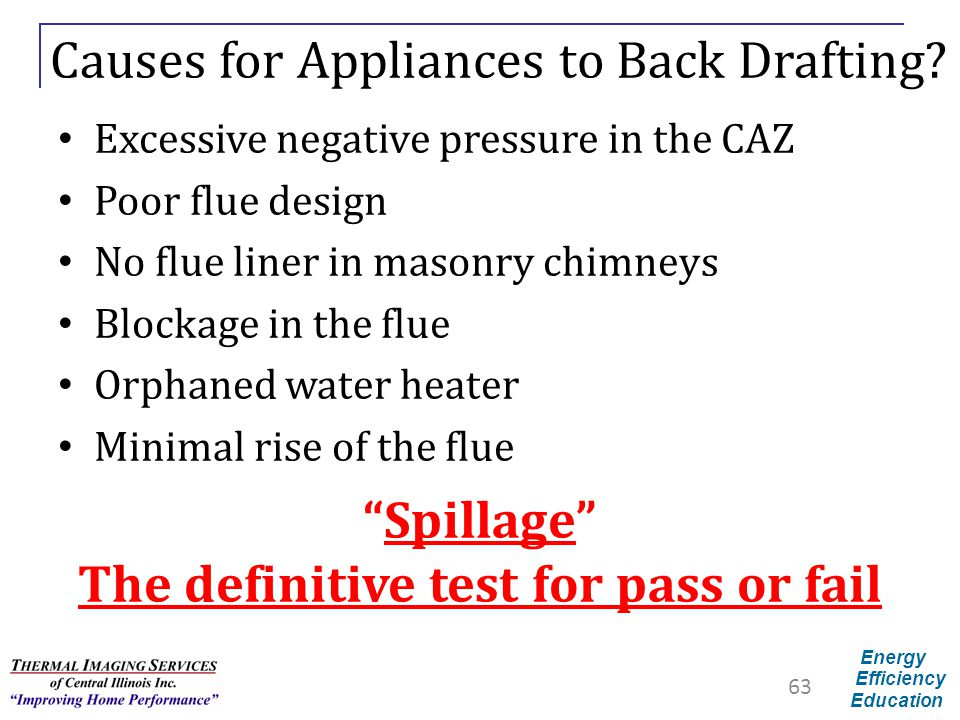 Energy Efficiency Education Causes for Appliances to Back Drafting? Excessive negative pressure in the CAZ Poor flue design No flue liner in masonry c