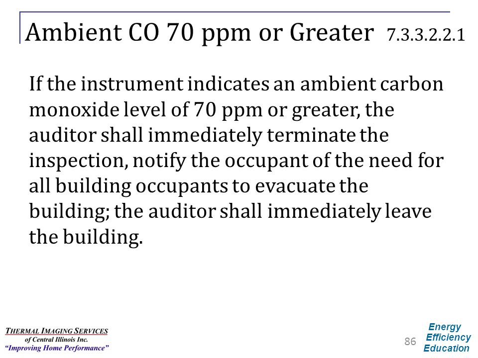 Energy Efficiency Education Ambient CO 70 ppm or Greater 7.3.3.2.2.1 If the instrument indicates an ambient carbon monoxide level of 70 ppm or greater
