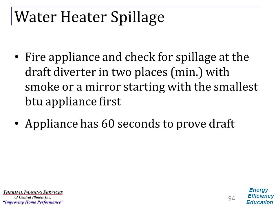 Energy Efficiency Education Water Heater Spillage Fire appliance and check for spillage at the draft diverter in two places (min.) with smoke or a mir