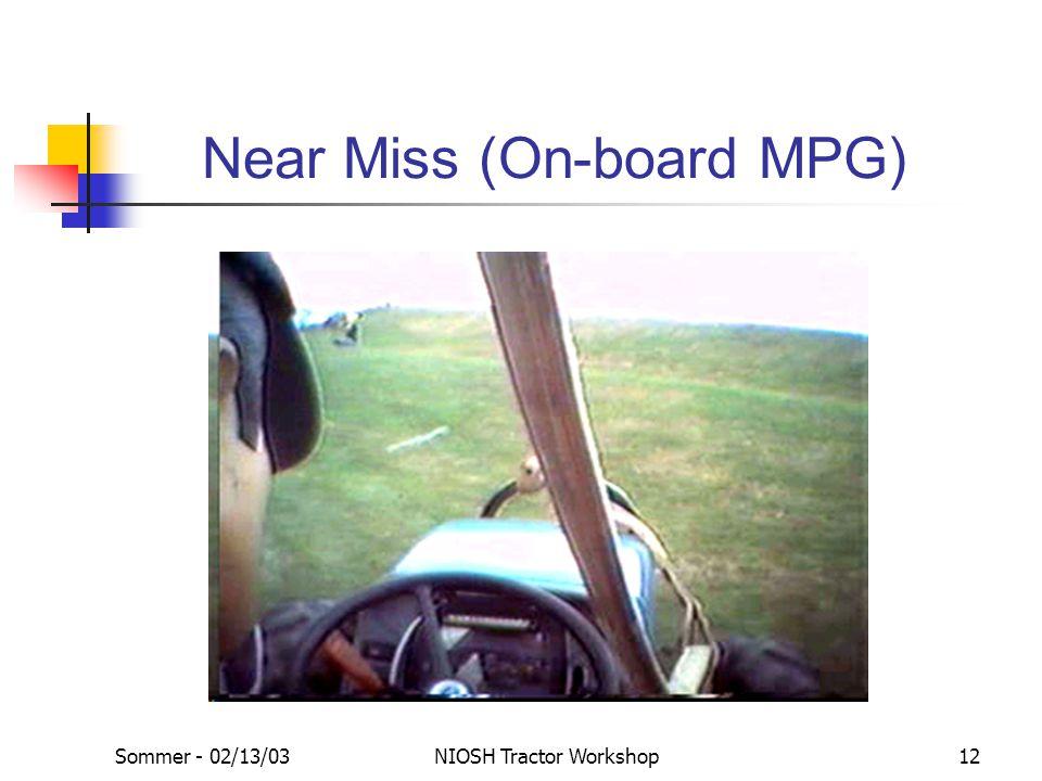 Sommer - 02/13/03NIOSH Tractor Workshop12 Near Miss (On-board MPG)