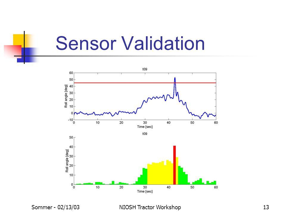 Sommer - 02/13/03NIOSH Tractor Workshop13 Sensor Validation