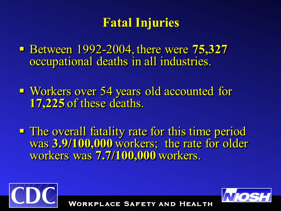 Fatal Injuries  Between 1992-2004, there were 75,327 occupational deaths in all industries.