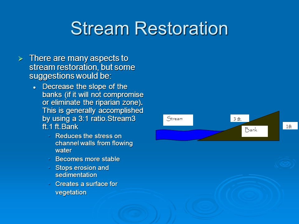 Stream Restoration  There are many aspects to stream restoration, but some suggestions would be: Decrease the slope of the banks (if it will not comp