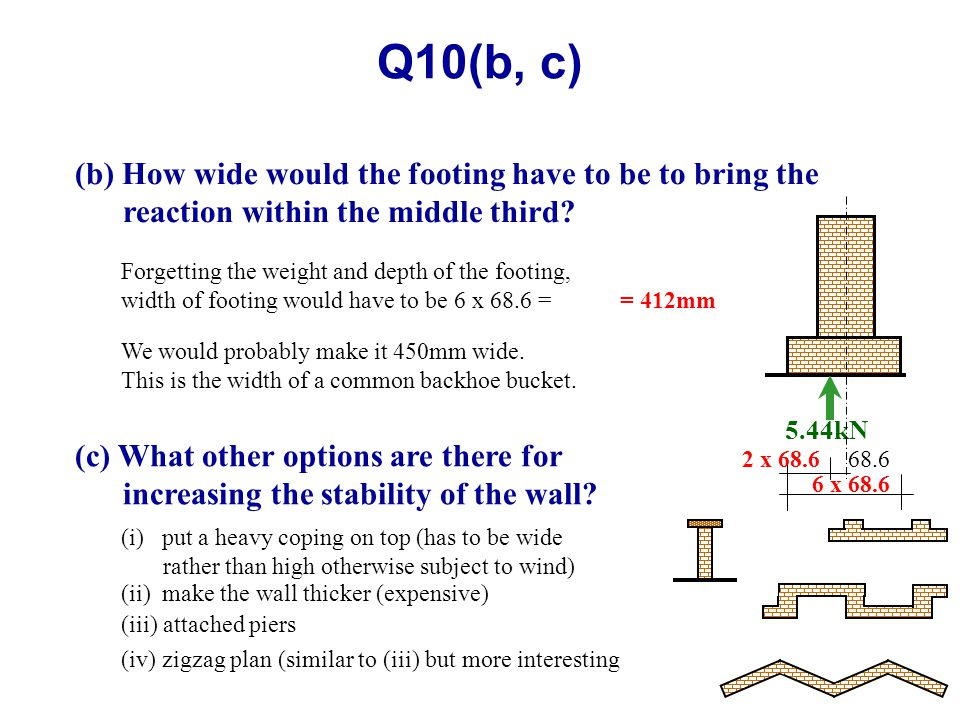 Q10(b, c) (b) How wide would the footing have to be to bring the reaction within the middle third? Forgetting the weight and depth of the footing, wid