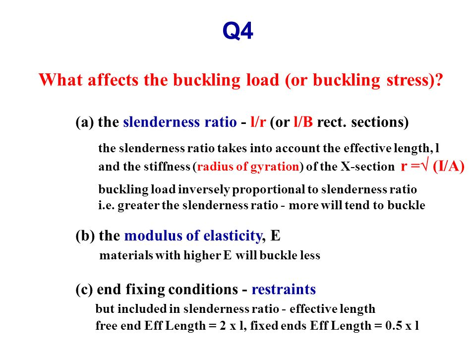 Q4 What affects the buckling load (or buckling stress).