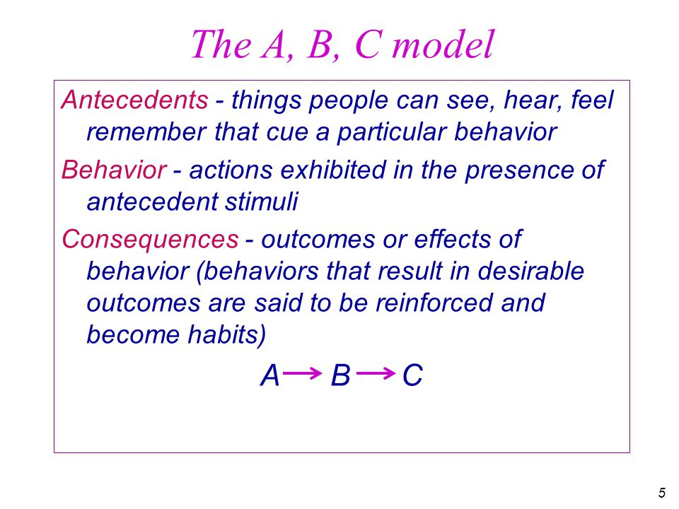 6 Two tales about the A-B-C model The man who ate too many donuts Short term and long term reinforcers Competition among reinforcers Why fear of punishment usually fails The farmer who ran his equipment without shields (machine guards)