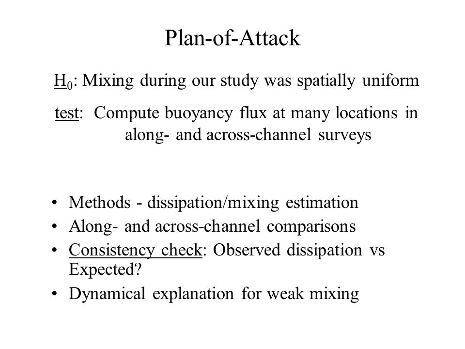 Plan-of-Attack Methods - dissipation/mixing estimation Along- and across-channel comparisons Consistency check: Observed dissipation vs Expected? Dyna