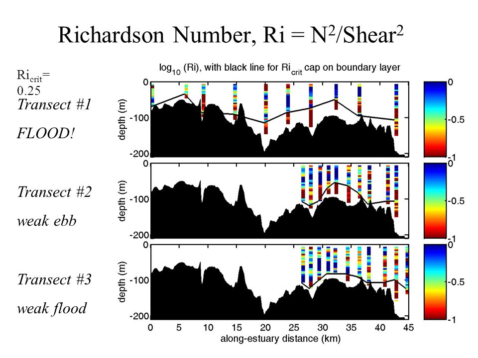 Richardson Number, Ri = N 2 /Shear 2 Ri crit = 0.25 Transect #1 FLOOD! Transect #2 weak ebb Transect #3 weak flood