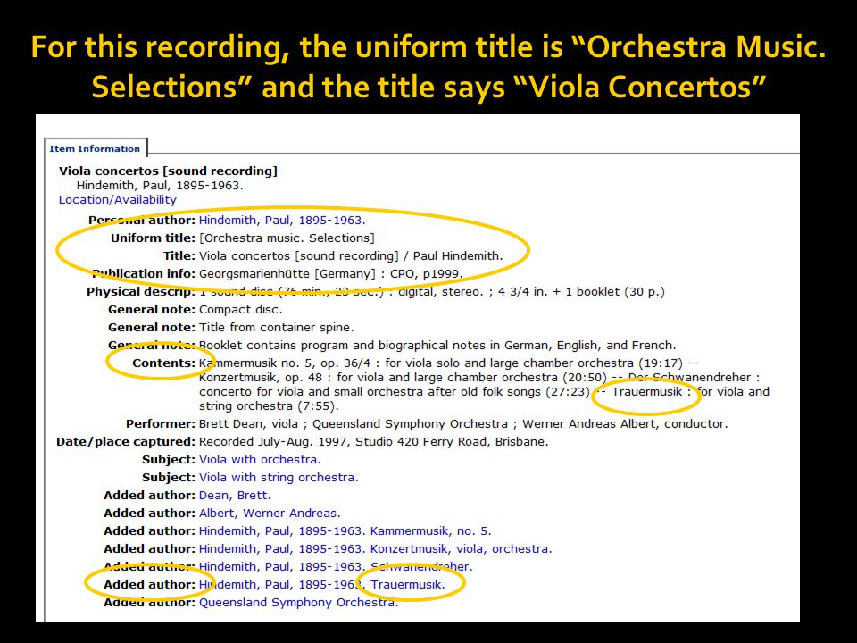 For this recording, the uniform title is Orchestra Music.