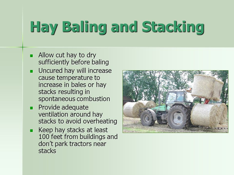 Hay Baling and Stacking Allow cut hay to dry sufficiently before baling Allow cut hay to dry sufficiently before baling Uncured hay will increase caus