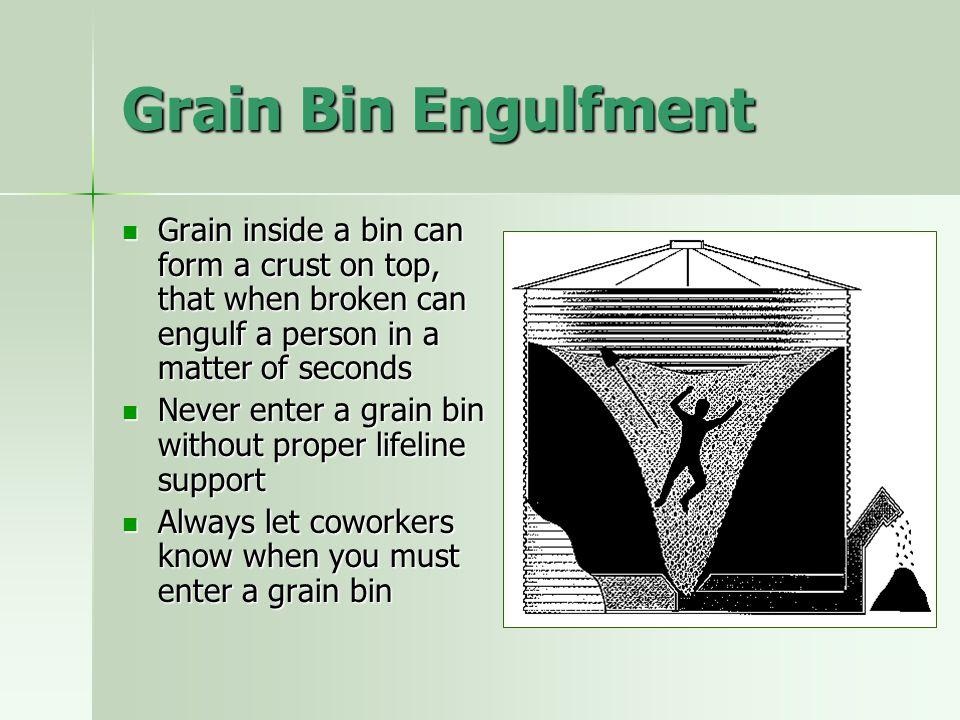 Grain Bin Engulfment Grain inside a bin can form a crust on top, that when broken can engulf a person in a matter of seconds Grain inside a bin can fo