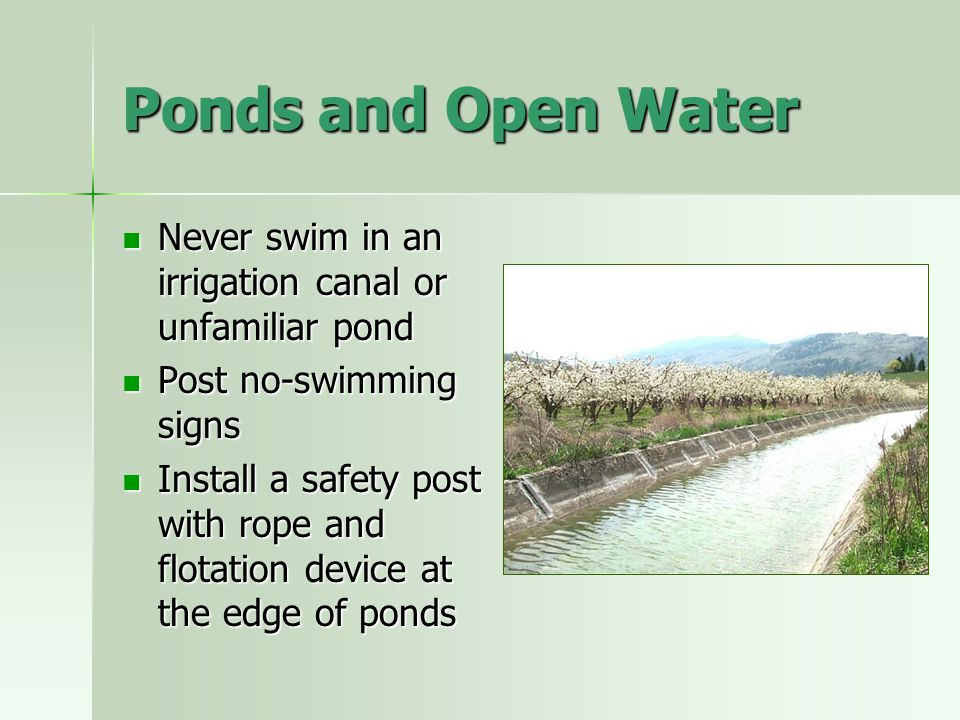 Ponds and Open Water Never swim in an irrigation canal or unfamiliar pond Never swim in an irrigation canal or unfamiliar pond Post no-swimming signs