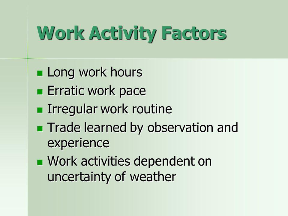 Work Activity Factors Long work hours Long work hours Erratic work pace Erratic work pace Irregular work routine Irregular work routine Trade learned