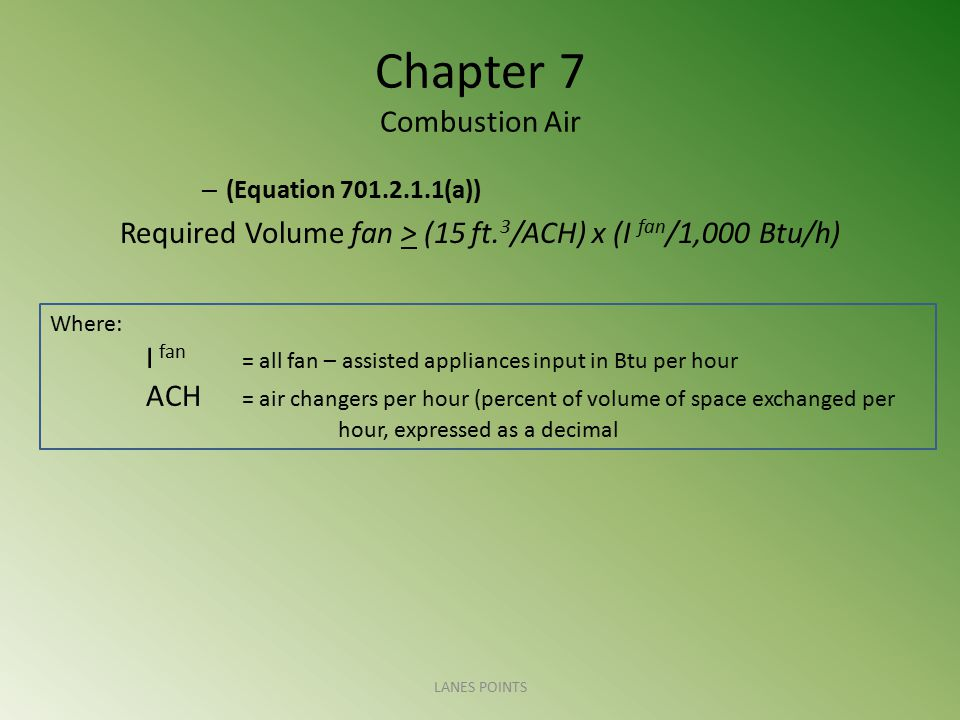 Chapter 7 Combustion Air – 701.2.2 Known Air Infiltration Rate Method.