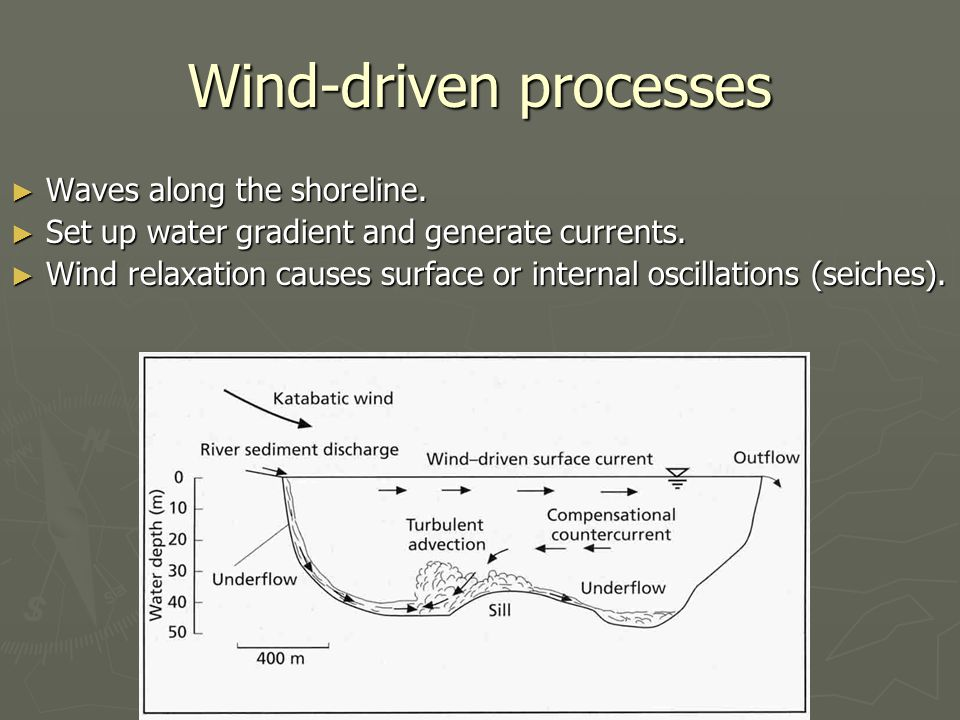 Wind-driven processes ► Waves along the shoreline.