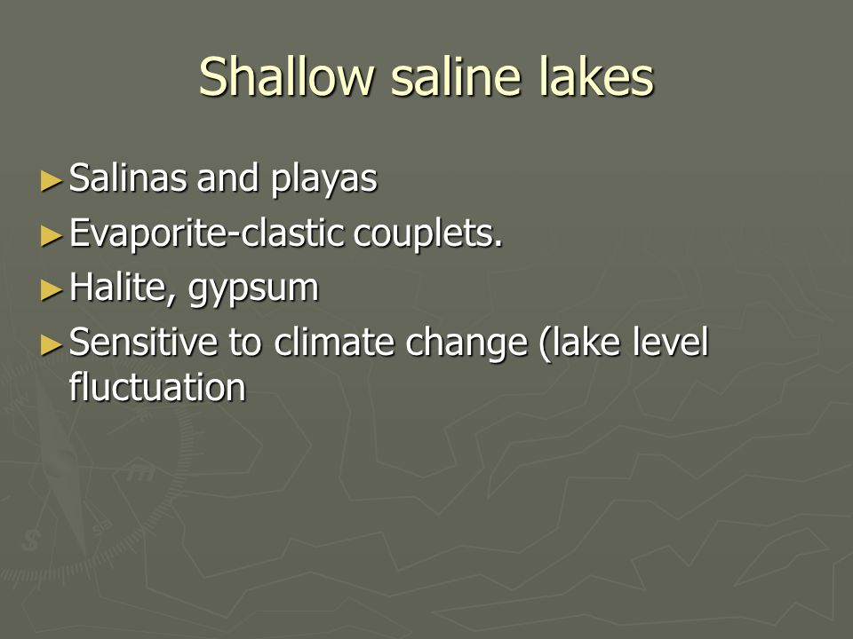 Shallow saline lakes ► Salinas and playas ► Evaporite-clastic couplets.