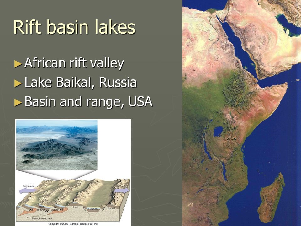Rift basin lakes ► African rift valley ► Lake Baikal, Russia ► Basin and range, USA