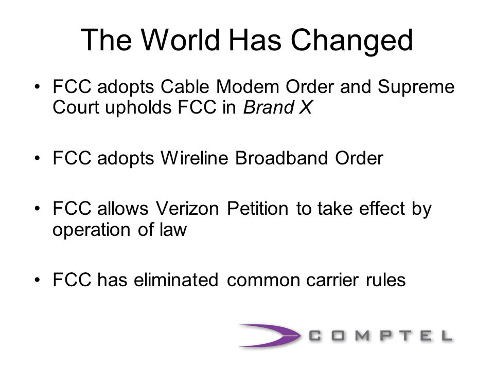 Common Carrier Regulation Title II and Computer II regulation is what made the Internet possible Service upon request, non-discrimination, interconnection and no control of content Common carriers also get liability protection and tariff benefits