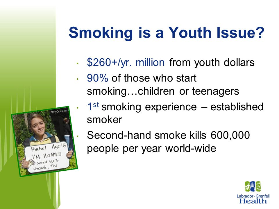 Smoking is a Youth Issue? $260+/yr. million from youth dollars 90% of those who start smoking…children or teenagers 1 st smoking experience – establis