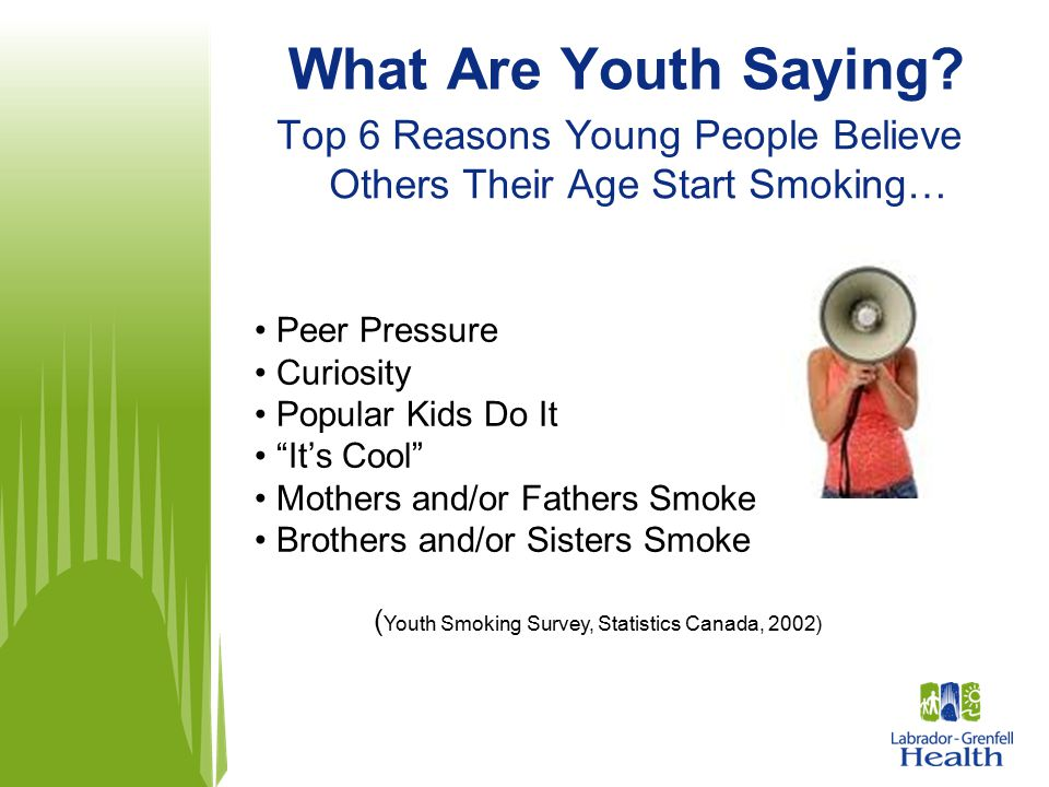 """What Are Youth Saying? Top 6 Reasons Young People Believe Others Their Age Start Smoking… Peer Pressure Curiosity Popular Kids Do It """"It's Cool"""" Mothe"""
