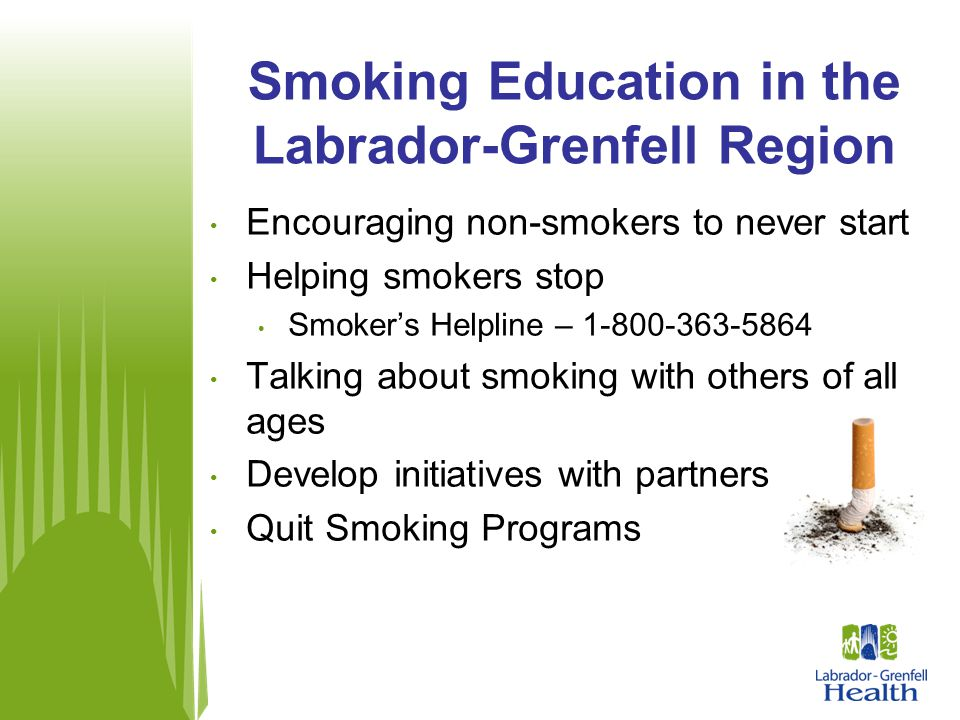 Encouraging non-smokers to never start Helping smokers stop Smoker's Helpline – 1-800-363-5864 Talking about smoking with others of all ages Develop i