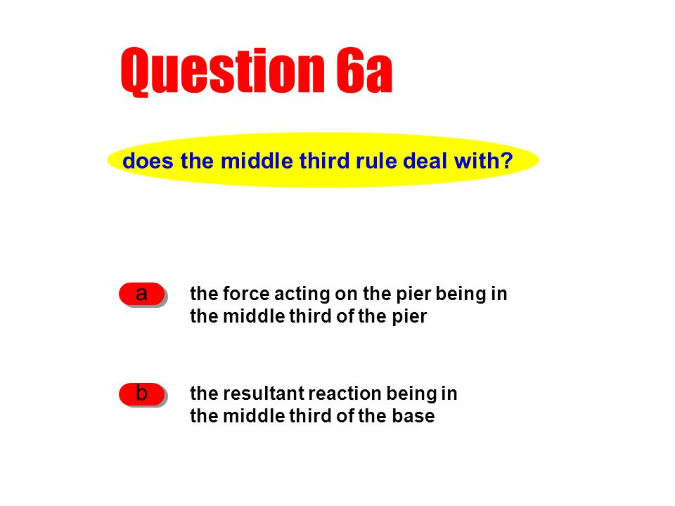Question 6a does the middle third rule deal with.