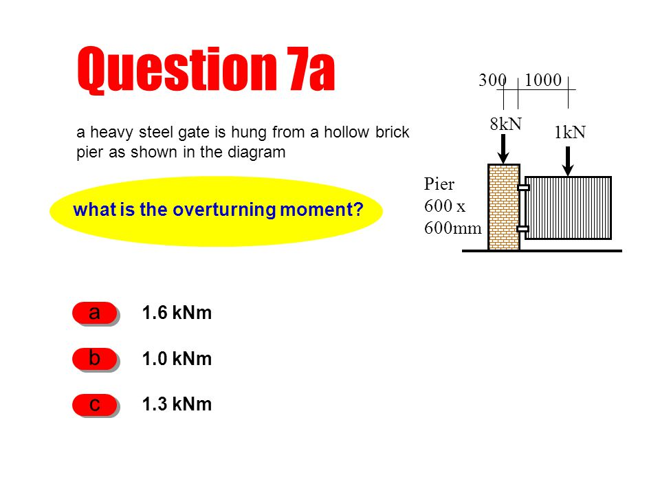Question 7a what is the overturning moment? 1.6 kNm a 1.0 kNm b 1.3 kNm c Pier 600 x 600mm 8kN 1kN 3001000 a heavy steel gate is hung from a hollow br