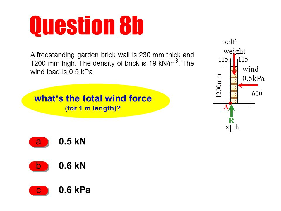 Question 8b what's the total wind force (for 1 m length)? 0.5 kN a 0.6 kN b 0.6 kPa c A freestanding garden brick wall is 230 mm thick and 1200 mm hig