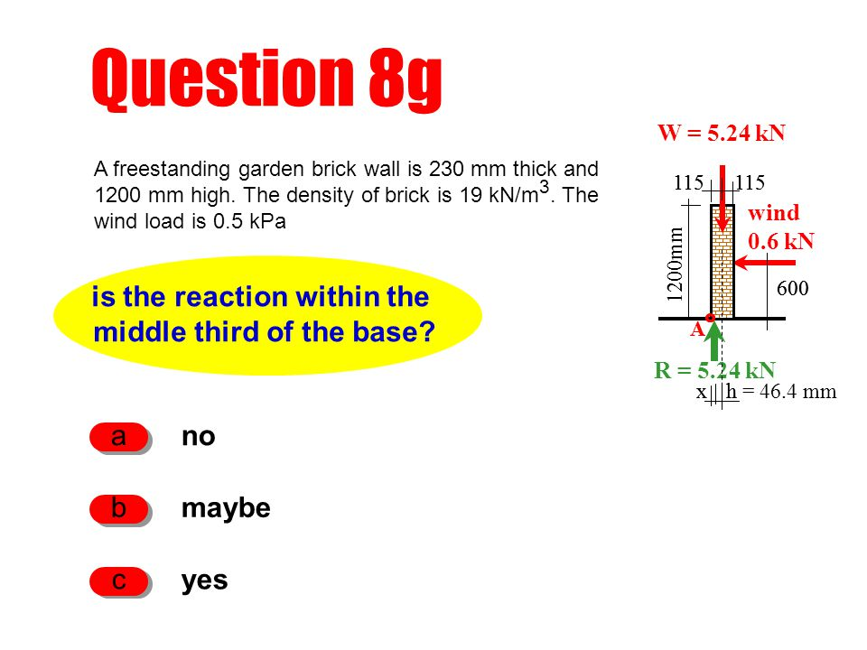h Question 8g is the reaction within the middle third of the base.