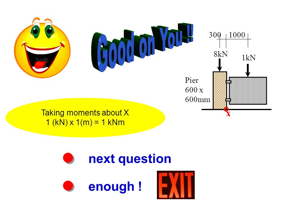 next question enough ! Taking moments about X 1 (kN) x 1(m) = 1 kNm Pier 600 x 600mm 8kN 1kN 3001000 x