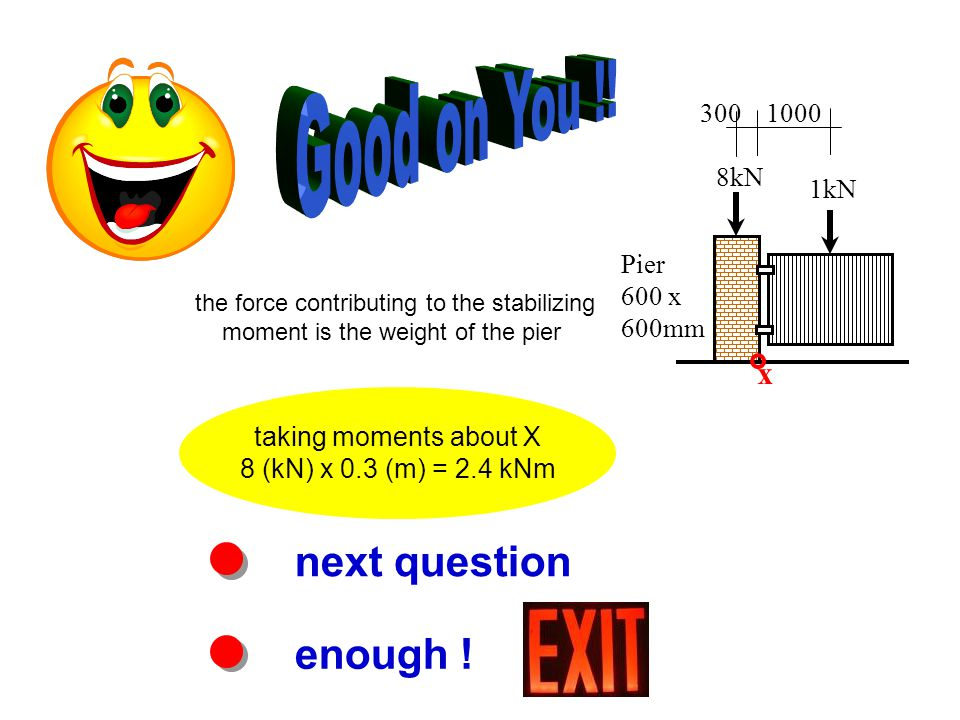 next question enough ! taking moments about X 8 (kN) x 0.3 (m) = 2.4 kNm Pier 600 x 600mm 8kN 1kN 3001000 x the force contributing to the stabilizing