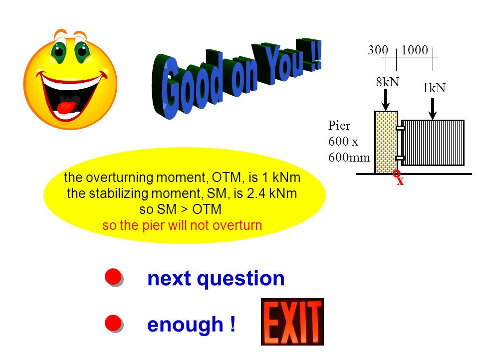 next question enough ! the overturning moment, OTM, is 1 kNm the stabilizing moment, SM, is 2.4 kNm so SM > OTM so the pier will not overturn Pier 600