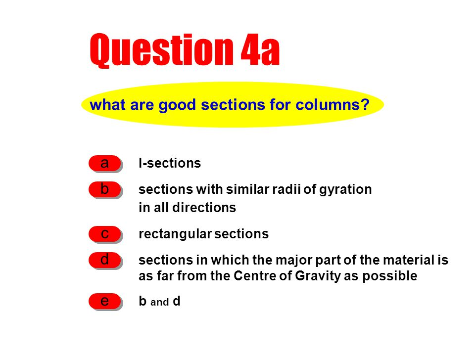 Question 4a what are good sections for columns? I-sections a sections with similar radii of gyration in all directions b rectangular sections c sectio