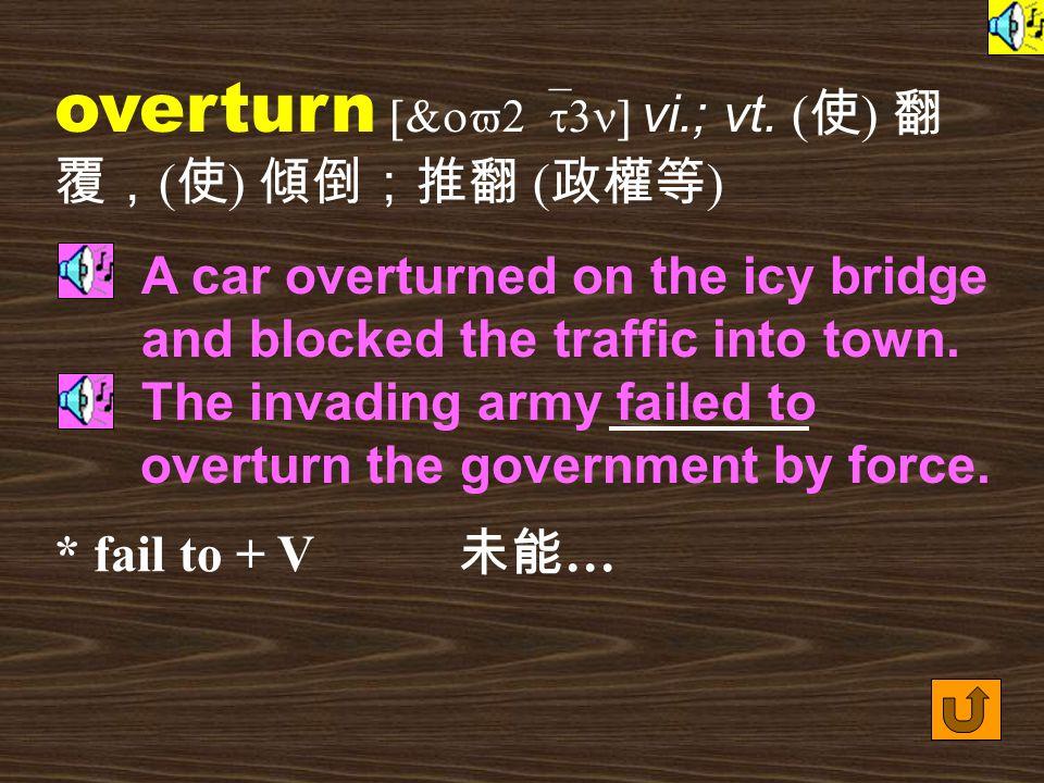 Words for Production 31. overturned [&ov2`t3nd] adj.