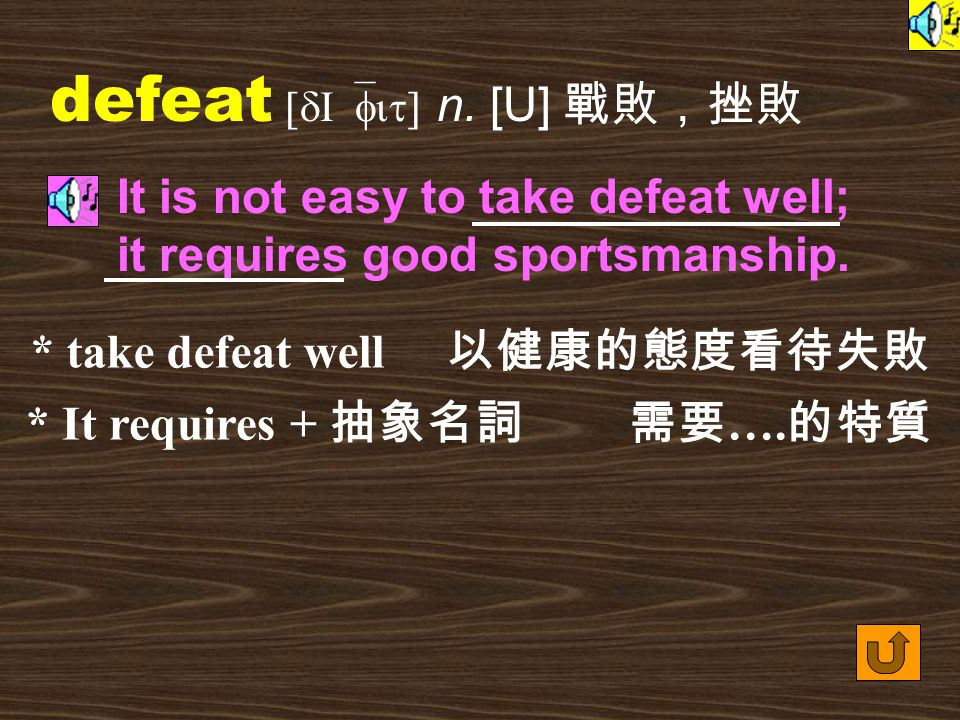 Words for Production 23. defeat [dI`fit] vt.
