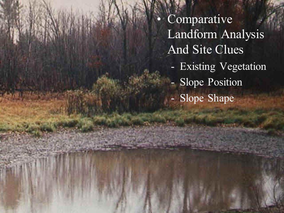 Comparative Landform Analysis And Site Clues -Existing Vegetation -Slope Position -Slope Shape