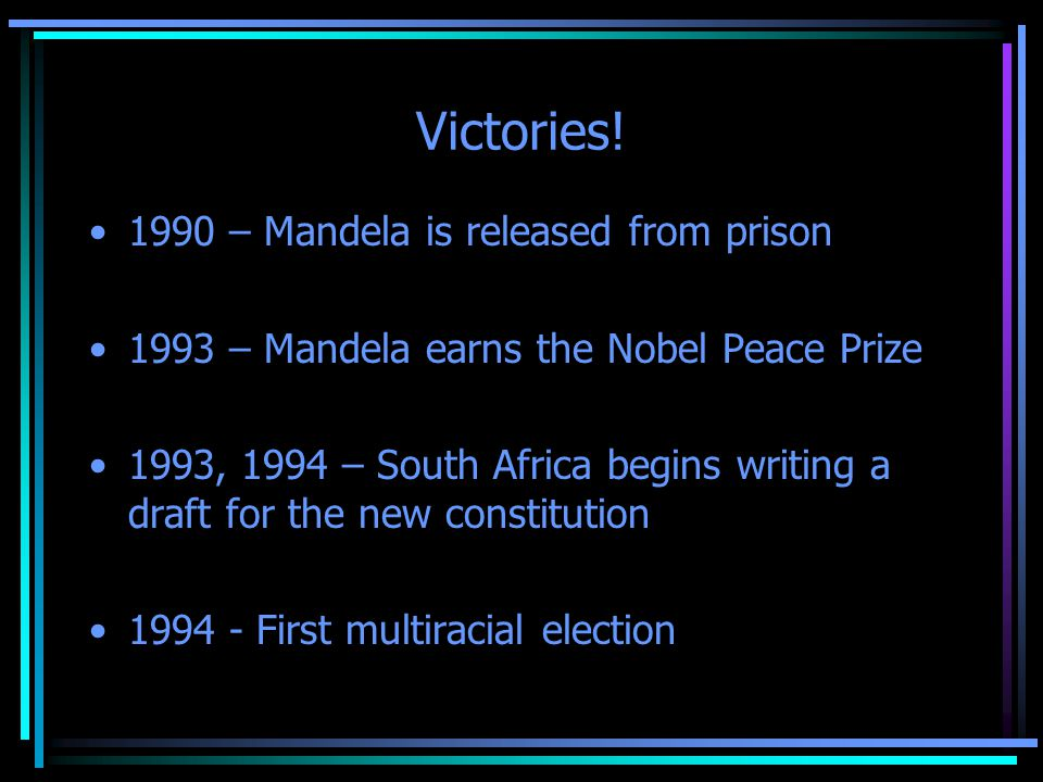 Victories! 1990 – Mandela is released from prison 1993 – Mandela earns the Nobel Peace Prize 1993, 1994 – South Africa begins writing a draft for the