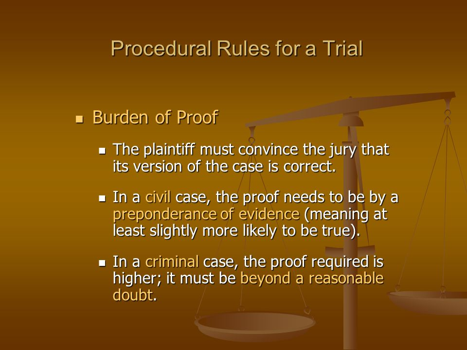 Procedural Rules for a Trial Burden of Proof Burden of Proof The plaintiff must convince the jury that its version of the case is correct.