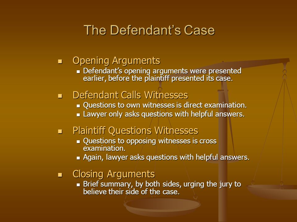 The Defendant's Case Opening Arguments Opening Arguments Defendant's opening arguments were presented earlier, before the plaintiff presented its case.