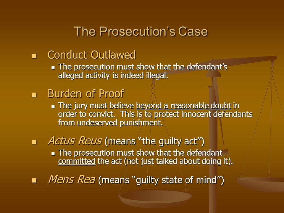 The Prosecution's Case Conduct Outlawed Conduct Outlawed The prosecution must show that the defendant's alleged activity is indeed illegal.