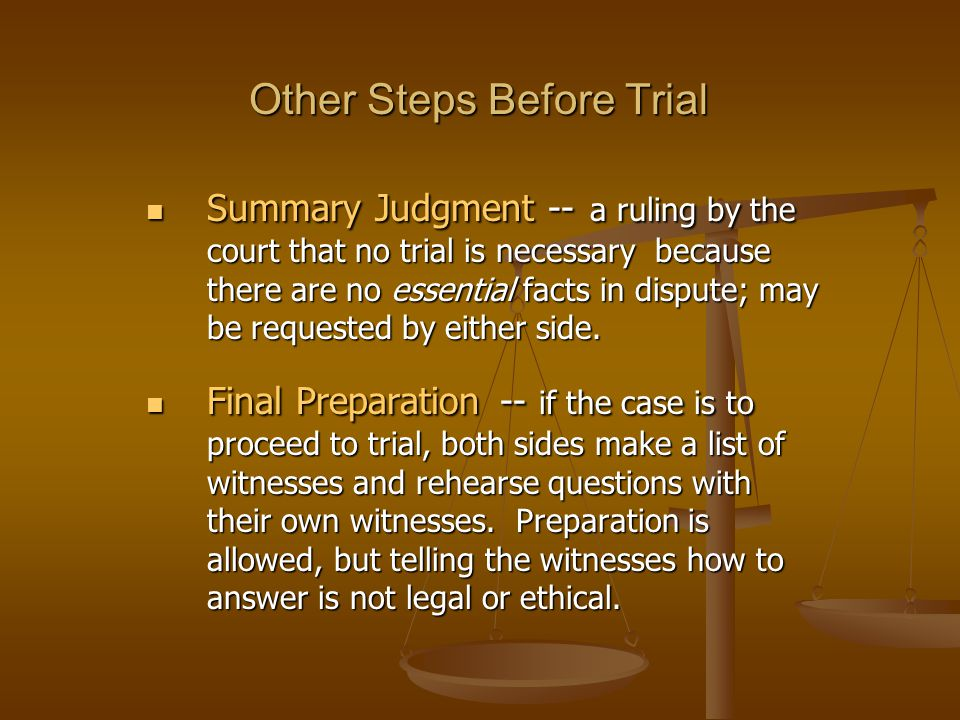 Other Steps Before Trial Summary Judgment -- a ruling by the court that no trial is necessary because there are no essential facts in dispute; may be requested by either side.