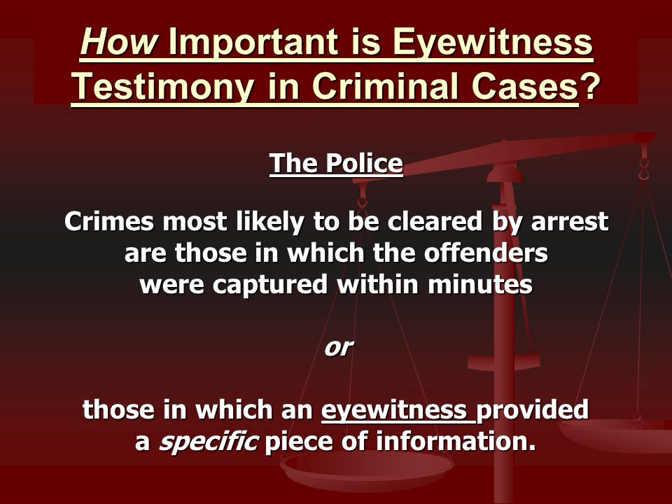 How Important is Eyewitness Testimony in Criminal Cases.