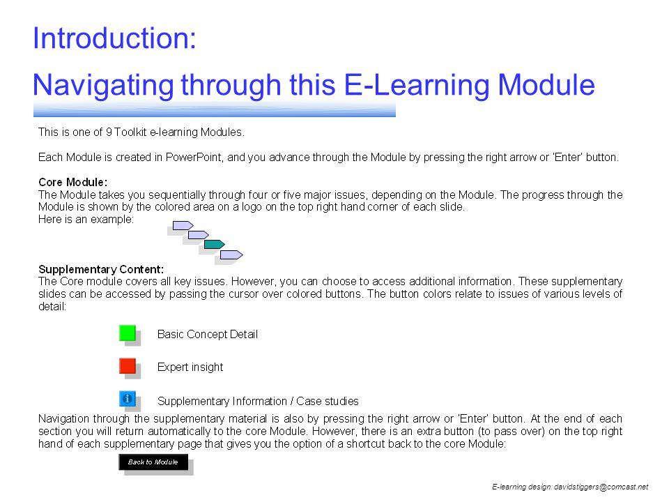 Introduction: Navigating through this E-Learning Module E-learning design: davidstiggers@comcast.net
