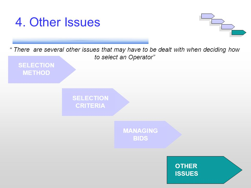 """ There are several other issues that may have to be dealt with when deciding how to select an Operator"" SELECTION CRITERIA MANAGING BIDS OTHER ISSUES"