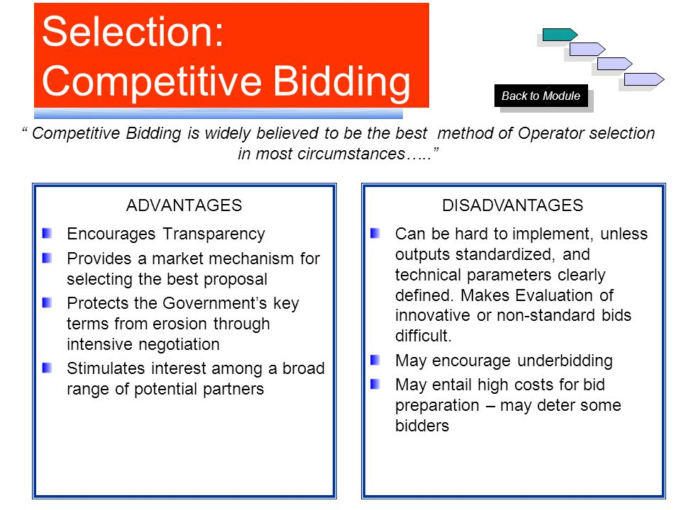 Selection: Competitive Bidding ADVANTAGES Encourages Transparency Provides a market mechanism for selecting the best proposal Protects the Government'