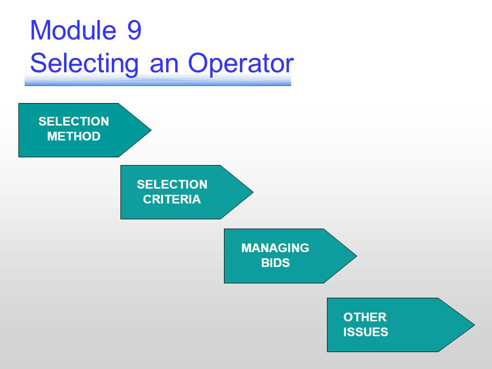 SELECTION CRITERIA MANAGING BIDS OTHER ISSUES Module 9 Selecting an Operator SELECTION METHOD