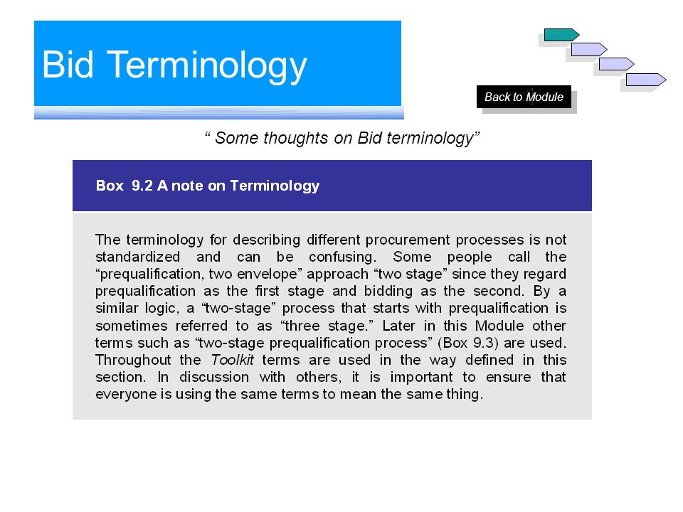 "Bid Terminology "" Some thoughts on Bid terminology"" Back to Module"