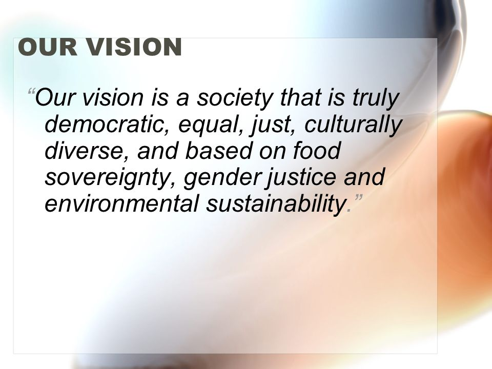 "OUR VISION ""Our vision is a society that is truly democratic, equal, just, culturally diverse, and based on food sovereignty, gender justice and envir"