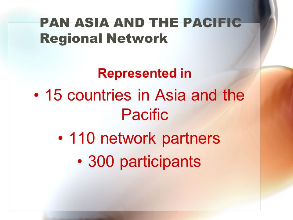Represented in 15 countries in Asia and the Pacific 110 network partners 300 participants PAN ASIA AND THE PACIFIC Regional Network